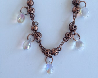 AB Glass Teardrops and Antique Copper Necklace