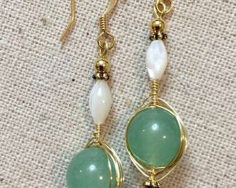 Handmade Wre Wrapped Green Aventurine and Mother of Pearl Drop Earring