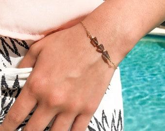 Smoky Quartz Bracelet / 14k Gold Filled Chain