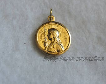 French Vintage Sainte Jeanne D Arc St Joan of Arc in Armor Goldplated Gold Tone Medal Pendant Charm Religious Catholic Saint Medal Mint