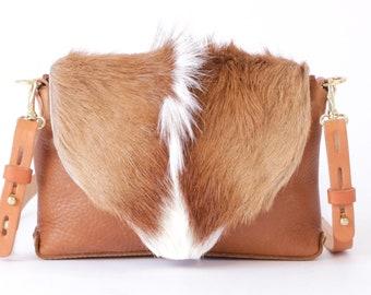 """Brown and White Springbok Fur Handbag ~ """"SPRINGBOK COLLECTION"""" Flap Clutch Handbag"""