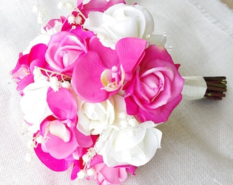 Wedding Fuchsia Natural Touch Orchids and Roses Silk Flower Bridal Bouquet with Rhinestones