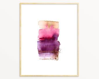 "Pink & Purple Watercolor Art Print. Pink Abstract Wall Art. Modern Minimal Painting. Large Wall Art. 16""x20"" Gallery Wall Art Print. Mod Art"