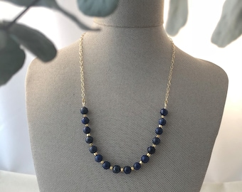 Lapis Lazuli and Gold Beaded Necklace on Gold Filled Chain