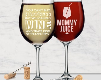 Wine Glasses With Sayings - Funny Mom Gifts -  Mom Gifts - Funny Wine Glasses - Gifts For Mom Birthday - Mommy Gifts - Wine Gifts