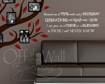 Generations Family Quote vinyl wall words decal two sizes, genealogy, family wall decals
