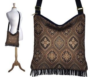 Bohemian Gypsy Fringe Purse, Cross Body Hobo Bag , Sling Crossbody Bag, Boho Tapestry Handbag, black brown RTS