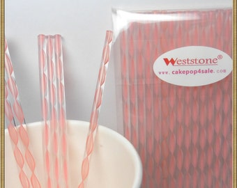 """100pcs 6"""" (15cm) Acrylic Sticks For Cake Pops or Lollipop Candy - Pink Swirl"""