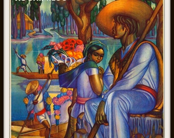 "Mexico Travel Poster Advertisement ""Mexico Xochimilco ""  circa 1925 Giclee Art Print - Wall Art - Vintage Travel Art Poster - Mexican Art"