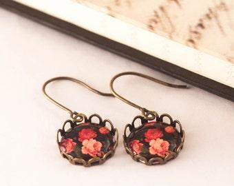 Victorian Flower Earrings, Flower Cameo Earrings, Rose Earrings, Vintage Inspired, Shabby Chic Earrings, Spring Earrings, Gift For Her,