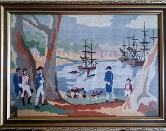 Framed Vintage Tapestry Picture. Framed Gobelin in Gilded Wooden Frame. Ships and Sailors in the Bay ROP0051