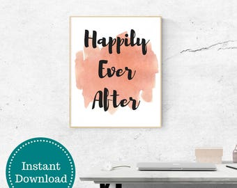 Happily Ever After Printable Wall Art Coral Watercolor