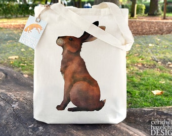 Hare Tote Bag, Reusable Shopper Bag, Cotton Tote, Ethically Produced Shopping Bag, Eco Tote Bag, Stocking Filler, Hare Gift