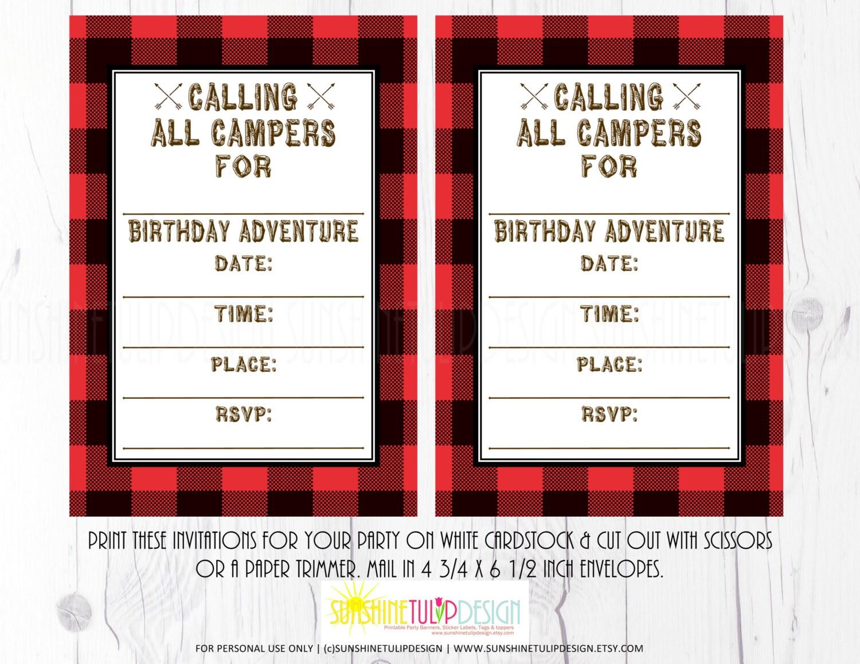 Buffalo Plaid Camping Invitation Printable Camping