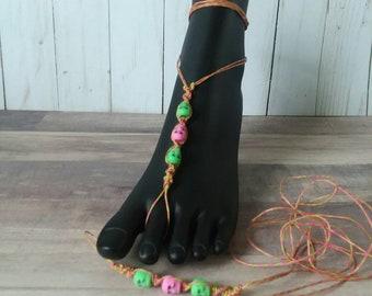 Macrame, Foot Jewelry, barefoot sandals, hippie, boho, beach jewelry