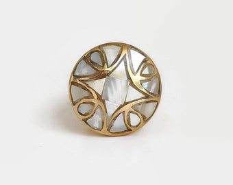 Mother of Pearl Inlay Brass Knob