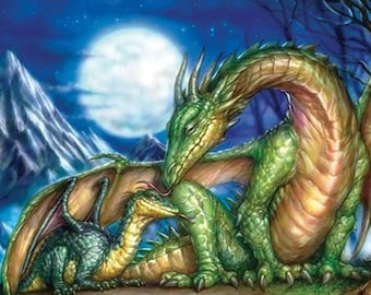 Mother and baby dragon Cross Stitch Pattern