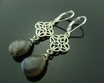 Blue Fire Labradorite Briolette Celtic Knot Sterling Silver Leverback Earrings