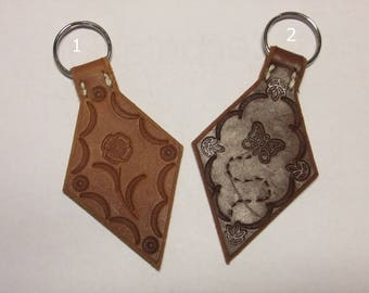 Vegetable tanned leather Keyring