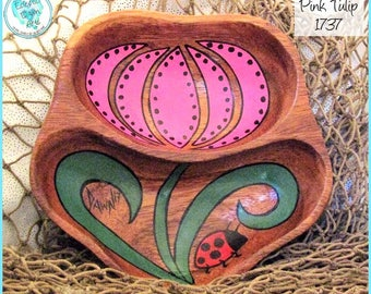 Tulip and Ladybug Bowl, Handpainted Wood Art, *pink, green, red* #1737