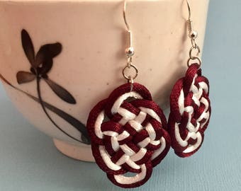 Chinese Knot Earrings - Burgundy and White