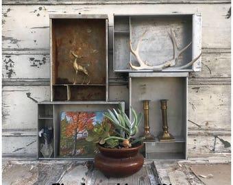 Salvaged Vintage Metal Industrial Drawers - Vintage Metal Trays - Metal Drawers - Essential Oil Storage - Craft Storage - Metal Tray