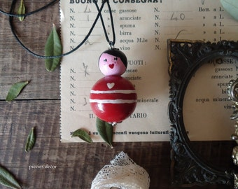 Wooden Doll necklace-hand painted necklace-Mother's gift-gift for girl-gift for her-wooden pearls doll Necklace