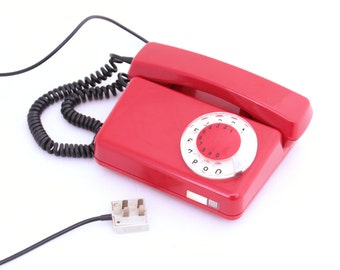 Vintage red rotary telephone from 70s, Red telephone, Xmas gift