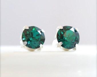 Emerald earrings - emerald green earrings - bridesmaid earrings - May birthstone