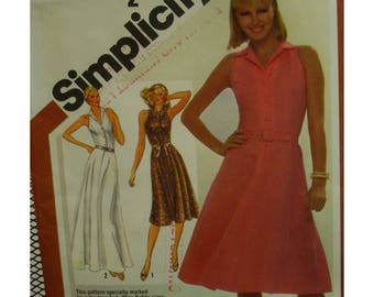 Open Shoulder Dress Pattern, Fitted Bodice, Flared Skirt, Button Bodice, Pointed Collar, Sleeveless, Simplicity No. 9959 UNCUT Size 12
