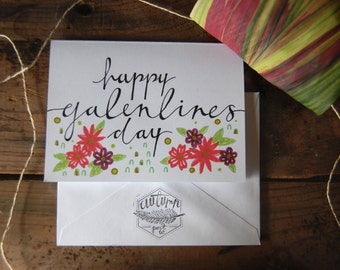 Happy Galentines Day card // Illustrated Blank Card // Floral with Gold Detail