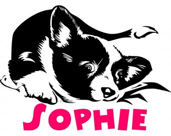 Border Collie personalize dog decal