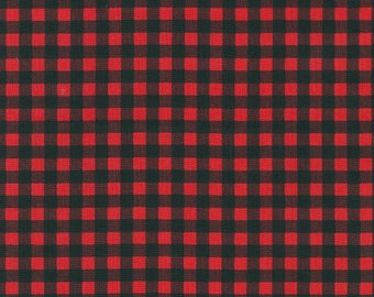 Robert Kaufman - Burly Beavers - Plaid - Red/Black - Fabric by the Yard AHE159953