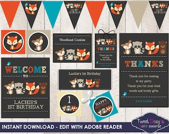 FOX PARTY, Instant download Fox Printable, Woodland Party Printable, Chalkboard Fox Printable, Editable, Fox Party Printable, Printable Fox