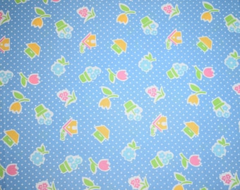 Fat Quarter, Blue Polka Dot Floral Fabric, Potted Plant Fabric, Blue Quilting Fabric, Blue with White Polka Dots, Fat Quarter Fabric