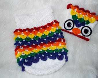 Photo Prop Newborn Crochet Rainbow Owl/Chicken Cocoon & Hat READY TO SHIP