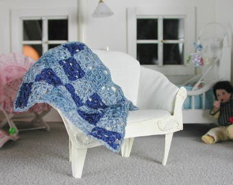 Crocheted blanket for the crib in miniature, handmade for the doll parlor, in scale 1:12, a gift for the collector