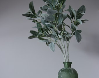 Arrangement of three stems of lamb's ear in a recycled vase.