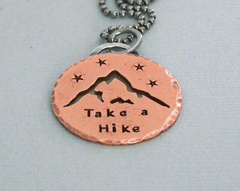 Take a Hike - Copper Mountain Pendant on Ball Chain - Hiker's Necklace - Wanderlust Gift