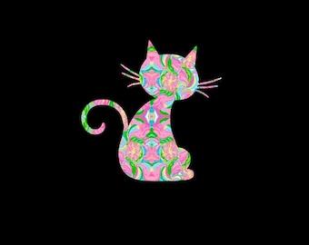 Cat, Kitty, Kitten Preppy Print Inspired Decal, Car Decal, Pattern Feline, Vinyl Decal