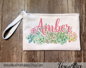 Bridesmaid Gift Bag, Bridal Party Favor, Custom Cosmetic Bag, Bachelorette Makeup Pouch, Wedding Party Gift, Personalized Succulent Pouch
