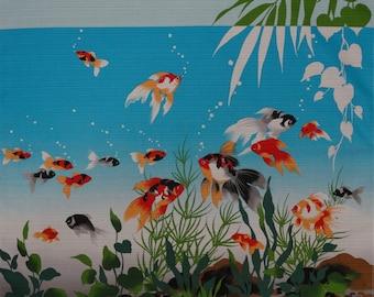 Furoshiki Deep Blue Kingyo Goldfish Fabric Cotton Japanese Goldfish Fabric 50cm w/Free Insured Shipping