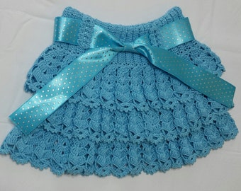 Handmade knited skirt for 3-4 year old girl / Knitted outer skirt  / Kinitted by organic rope