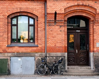 Copenhagen Photography - Bicycle Print - Denmark Architecture - Red Brick Building Photograph - Urban Home Decor Door Photo Travel