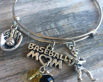 Baseball Mom Jewelry, Baseball Bracelet, Baseball Jewelry, Baseball Bangle, Softball Mom, Team Mom Gift, Birthstone Bracelet, Ball Mom