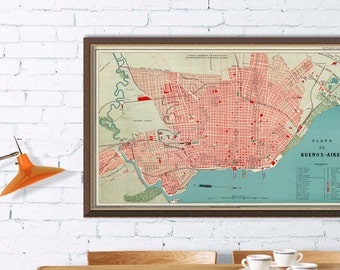 Buenos Aires map  - Wonderful  vintage map of Buenos Aires - Fine reproduction