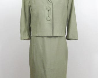 Neiman Marcus Silk Shantung Suit tailored by Roth-Le Cover - celadon green - Early 1960s - Sm
