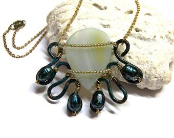 Aqua Blue Chalcedony Necklace Gemstone Pendant Oxidized Jewelry Aqua Blue Chalcedony Pendant Wired Pendant Artisan Free Form Jewelry