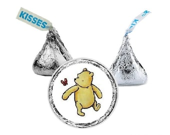 Winnie the Pooh, Hershey Kiss Stickers, Baby Shower, Birthday Party, Candy Stickers, Favors, Small, Envelope Seal, 108 Stickers