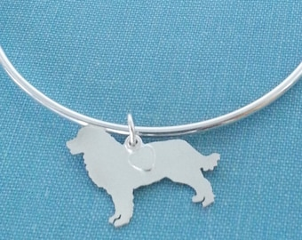 Bernese Mountain Dog Bangle Bracelet, Sterling Silver Personalize Pendant, Breed Silhouette Charm, Rescue Shelter, Mothers Day Gift